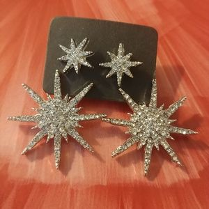 NEW ✴ Starburst Silver Pave Crystal Earring Jacket